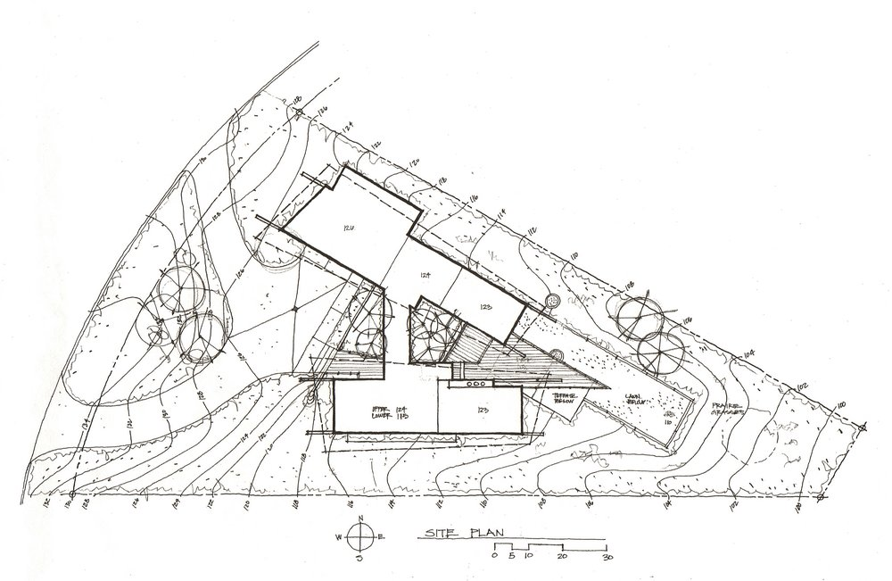 The overall layout plan shows the entry drive from the West, the garage and bedroom wing to the North and living wing to the South with deck and lawn to the East
