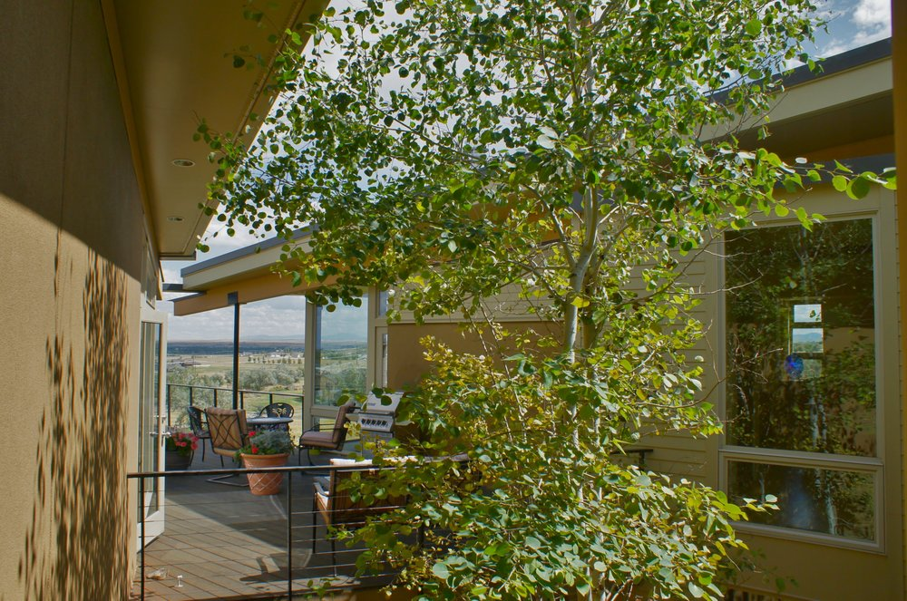 The main level deck is a central shaded and wind protected outdoor spot for the home.  The Aspen trees help provide some greenery and a bit of shade.