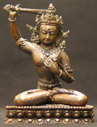 Manjushri with the sword of reason in his right hand, and his heart under his left