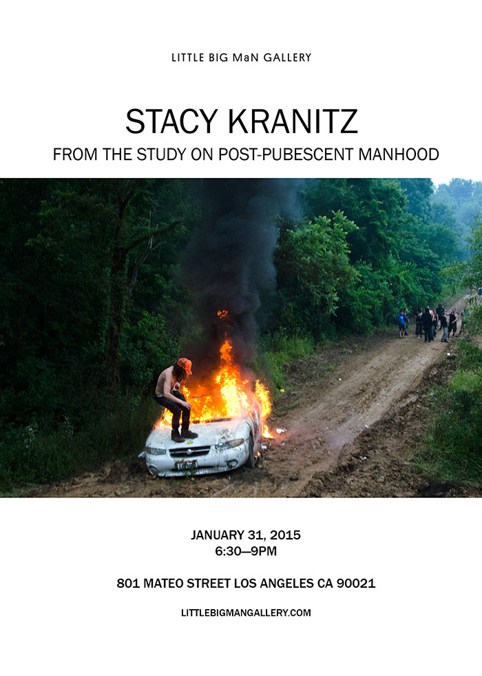 "stacykranitz: Stacy Kranitz's first solo show at Little Big Man features a collection of photographs taken over the course of multiple years at Skatopia in southern Ohio. The images will be on view alongside a feature length film about her relationship with a young man named Jerimy who she met while working on the series of images. From the Study on Post-Pubescent Manhood will be on view January 31 - March 14, 2015.     Kranitz's work seeks to assert a distinct continuity between violence and catharsis. She is specifically concerned with defining a validatory purpose for violent acts. By connecting the antisocial to the related emotional release, she clarifies such behavior as not only human, but necessary. Kranitz takes on the unruliness of humanity, and submits it to order. Her photography shows both a fascination and ease for the intensity and apparent risk in such situations—something Kranitz relates to a childhood marked by bouts of domestic violence. She immerses herself in the work and explains that the images are best described ""not as documentation but rather as an exploration of the ethical boundaries of representation and the subversion of the photographer's 'role.' I willingly cross these boundaries to insert myself into the experience,"" she explains. This immersion yields images that illustrate blood soaked young men with broken noses and flayed skin, all snorting, puffing, pushing and pulling. While youth and rage are hardly indifferent bedfellows, Kranitz seeks to assert that aggression and the onset to adulthood are a potent—and logical—human mix. The results are photographs that emit the adrenalin and dysfunction of the moments captured.    The narrative of Kranitz's film focuses on the relationship between herself and Jerimy, addressing the complexities and veracity of the relationship between documenter and her subject. All the while, the film explores the coming of age of its subject, and the contemporary realities of both poverty and freedom. Kranitz presents the intimate relationship between herself and her subject, uncovering the ways in which she provokes, empowers, and exploits him. The footage reveals Krantiz as a filmmaker who willingly utilizes her subjects, both glorifying and fetishizing their sexuality and youthful vitality.  It tows the line between pleasure and pain, lust and adoration, friendship and fascism."