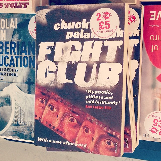 Very, very old #design of ours (2005) for #FightClub by #ChuckPalahniuk spotted in the shops. Strange to see it now. Those were real soap suds. #bookdesign #coverdesign #bookcoverdesign #tylerdurden #firstruleaboutfightclub #saluarchive