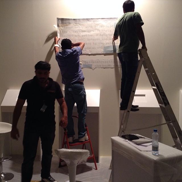 My team setting up the show @artdubai #abraaj #art prize 2014 #exhibition #creativedirection