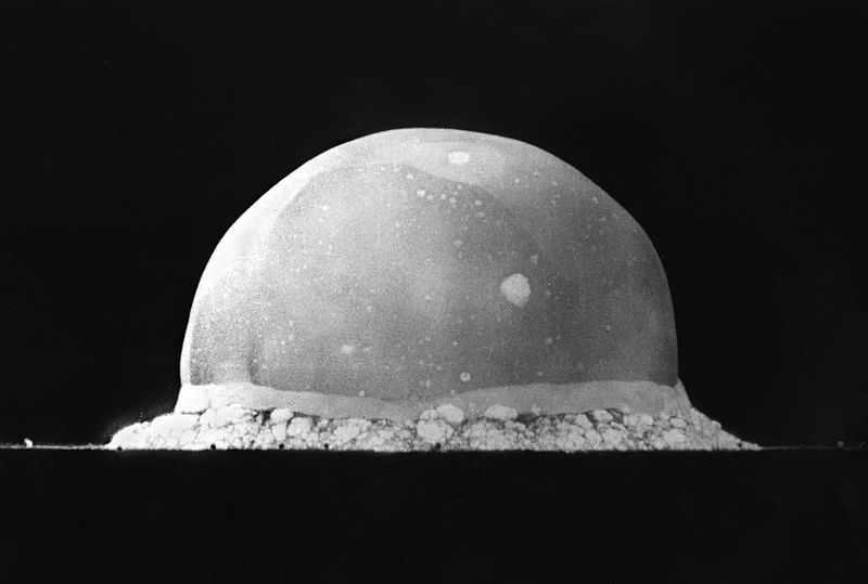 jackrubytuesday :     Trinity atom bomb test, New Mexico, 1945, 18 milliseconds after detonation.