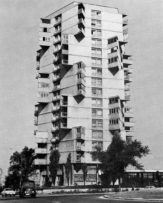 effettobeaubourg:  Residential tower in Karaburma  by Rista Sekerinski (1963)