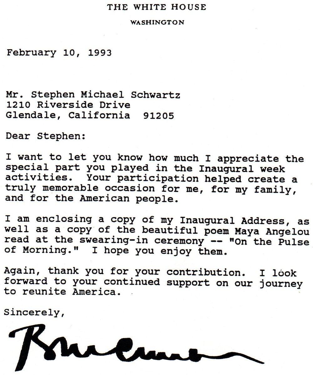 Letter from President Bill Clinton