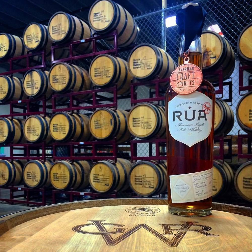 RUA - American Single Malt Whisky  Warmly mellowed by charred white oak, finishes with a soft chocolate tone.  40% ABV (80 Proof)