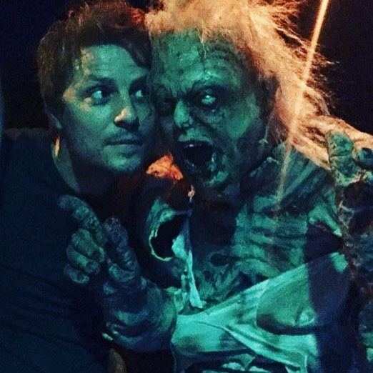 Henrietta made a new friend from @couch_guitar_straps last night... #evildeadthemusical #thegaragetheatre #horror #evildead2 #theatre #henrietta #deadite