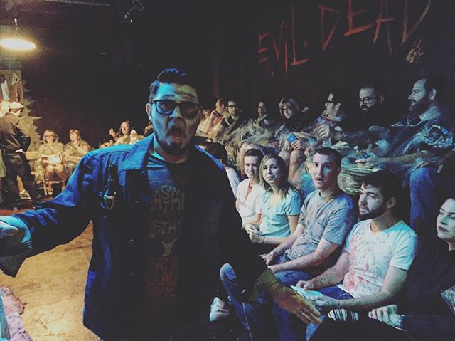 Bass Player David Perez and a group of blood splattered Deadites! @thegaragetheatre #evildead2 #horror #theatre #evildeadthemusical #evildead