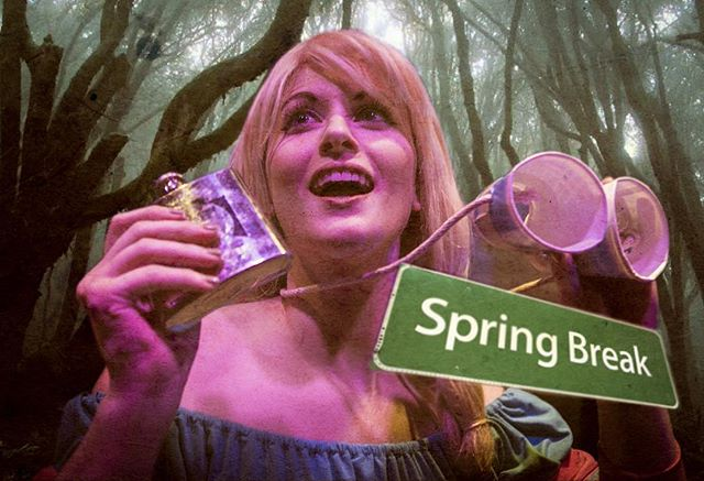 Shelly is really looking forward to a week of drinking! Yeah, good luck with that, Shelly. #evildeadthemusical #evildead #evildead2 #ashvsevildead #horror #springbreak