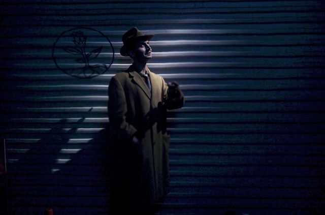 """The mysterious Dr. Ben in a Harry Lime/Vaguely Dick Tracy setting. From our new short """"Nightshade Labs"""". • • • • • • #horror #horrorshort #noir #neonoir #director #producer #fantasy #shortfilm"""
