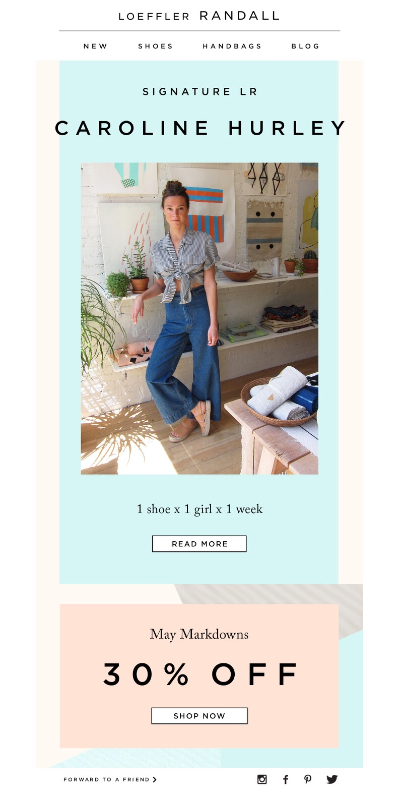 "Loeffler Randall: ""1 Shoe x 1 Girl x 1 Week: Caroline Hurley,"" 5.21.2016"
