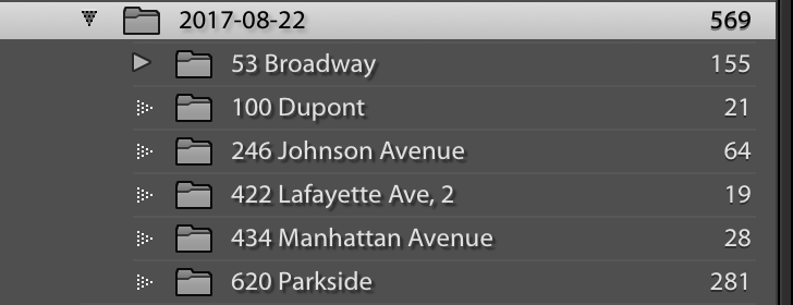 596 captures across 6 disparate locations. Greenpoint, Williamsburg, Bushwick, Clinton Hill, & Prospect Lefferts Garden.
