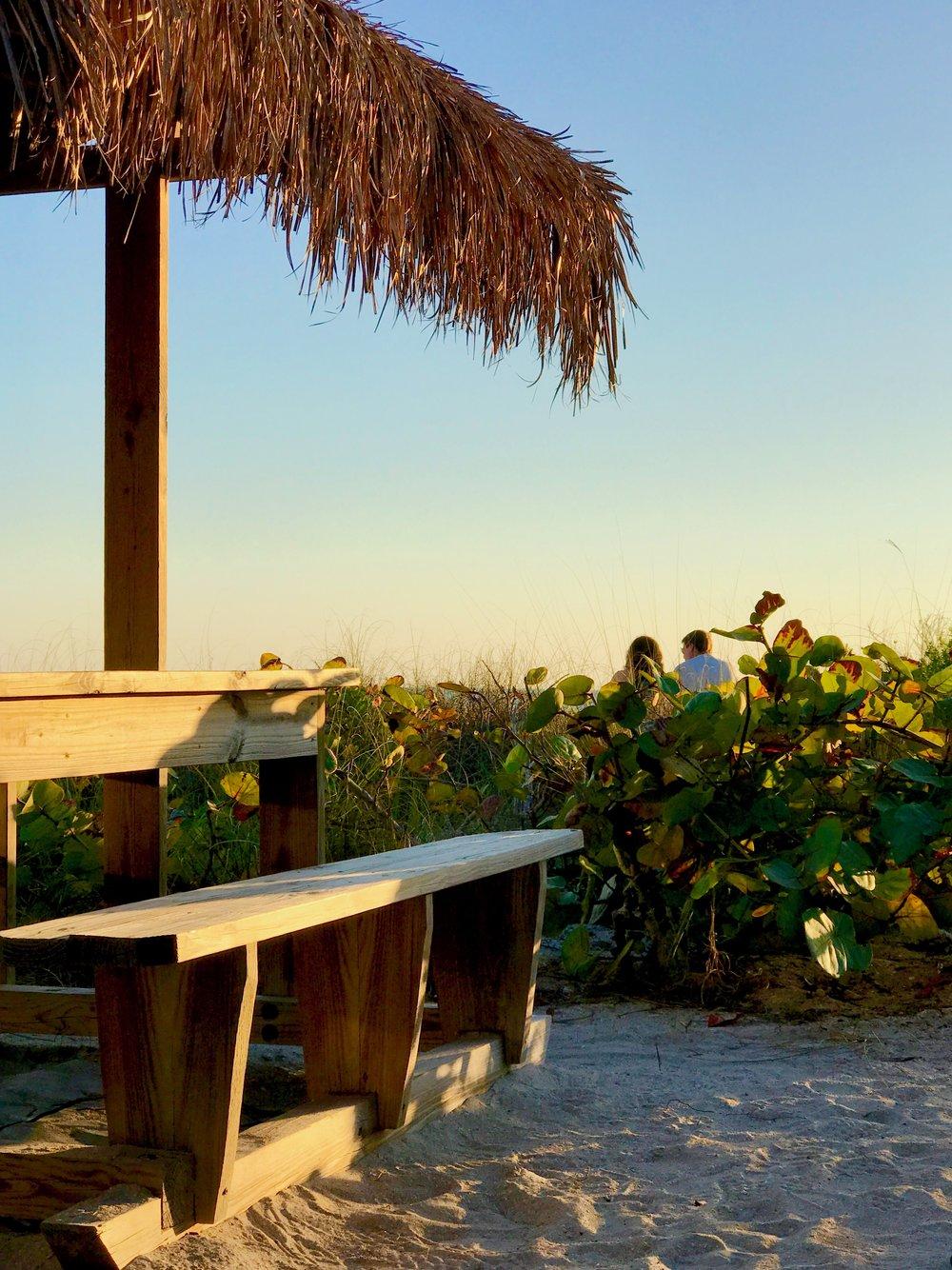 Tiki cabana bench