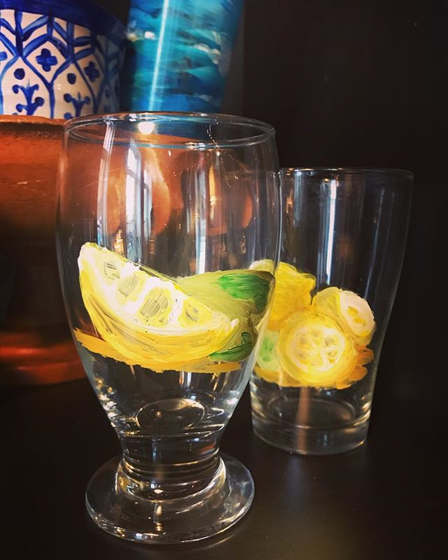Glass painting First Friday! 6-9pm tonight. $10 items of all kinds- candleholders, cups, vases, incense burners, wine glasses, monogram plates, glass leaf plates, sundae dishes, mugs... #glasspainting #demandmoreart #iloveart #ilovetopaint #lemons #ceramicpainting #functionalart #wineglass #wineglasspainting #personalizeyourstuff
