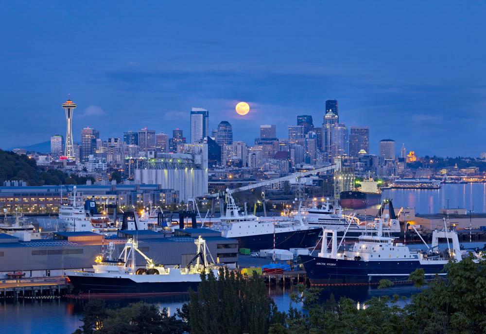 Supermoon over Seattle