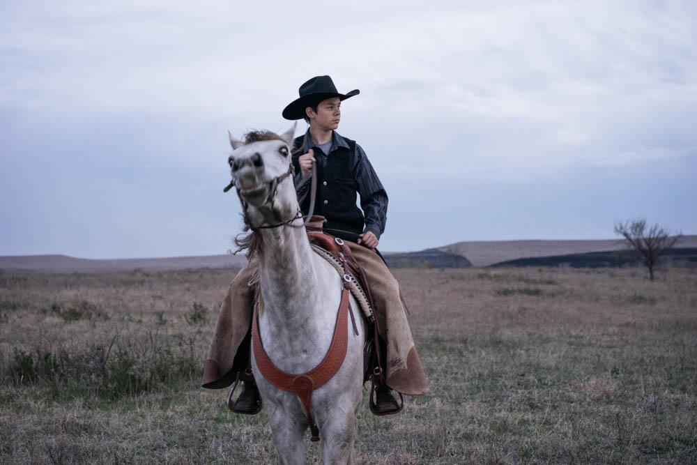 Justin Preheim & grey gelding