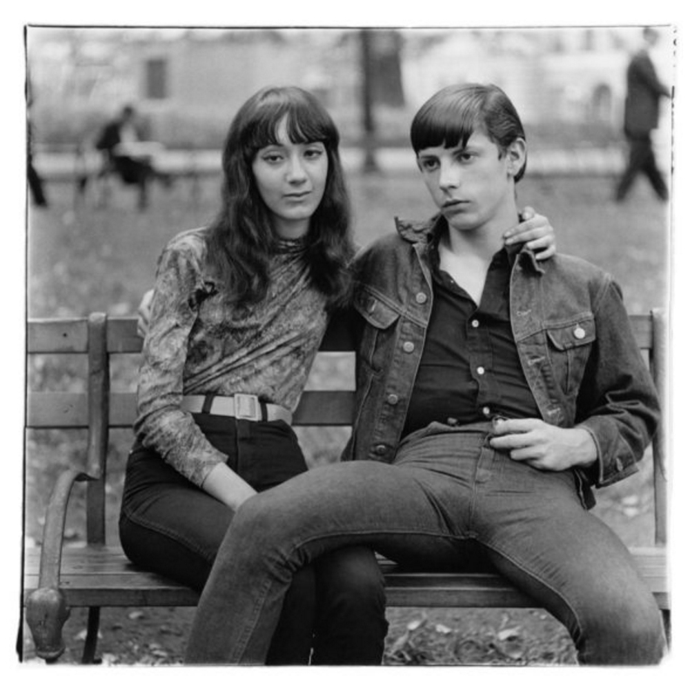 Young couple on a bench in Washington Square Park, N.Y.C. 1965