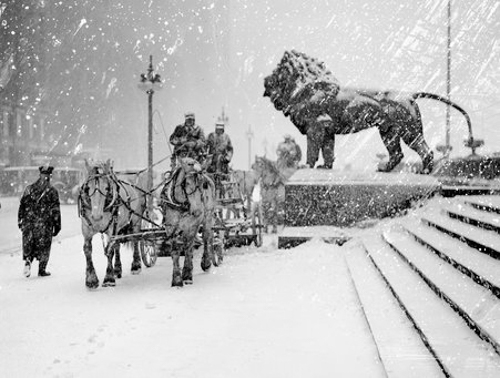 A man driving a horse-drawn wagon on a sidewalk during a snowstorm, next to a bronze lion statue in front of the Art Institute of Chicago, located at 111 South Michigan Avenue, Chicago, Illinois,1925.