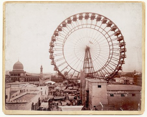 View of the Ferris Wheel at the World's Columbian Exposition, Chicago, Illinois, 1893. View includes the Moorish Palace.