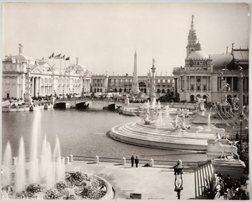 View of Main Basin, including Colonnade and Obelisk, at the World's Columbian Exposition world's fair, Chicago, Illinois, 1893