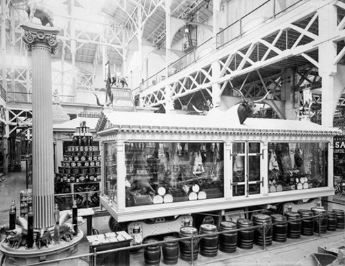 Swift Pavilion inside the Agricultural Building at the World's Columbian Exhibition world's fair, Chicago, Illinois, 1893. View includes a refrigerated rail car.