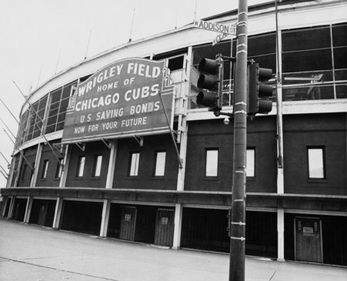 Exterior view of the northeast corner of Wrigley Field located at Addison and Clark Streets, Chicago, Illinois, February 1975.