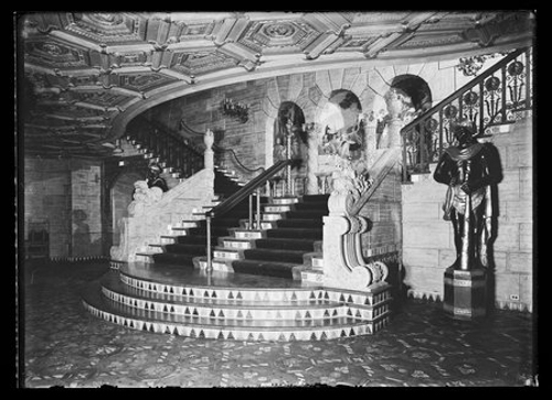 Ground floor stairs of Aragon Ballroom, Chicago, Illinois. Designed by Huszagh & Hill.