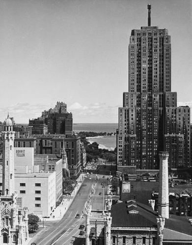 View of North Michigan Avenue from the Allerton Hotel, Chicago, Illinois, July 1949.