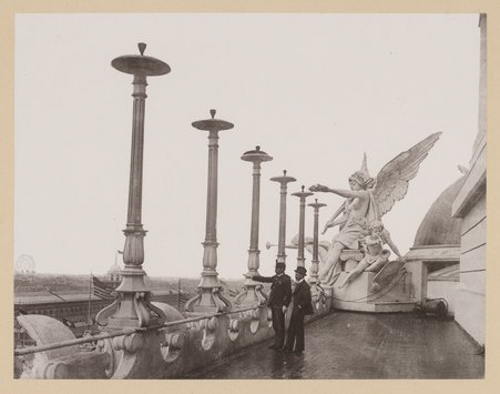 Upper balcony of the Administration Building at the World's Columbian Exposition world's fair, Chicago, Illinois, 1893.