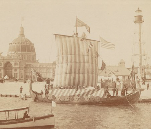 The Viking Ship at the World's Columbian Exposition world's fair, Chicago, Illinois, 1893.