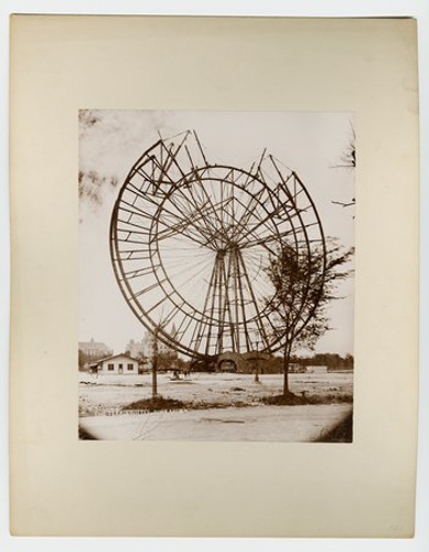 View of the partially dismantled Ferris wheel after the World's Columbian Exposition, Chicago, Illinois, June 1, 1894.