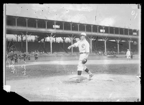 National League's Chicago Cubs baseball player Harry (John Reid) McIntire on the field at West Side Grounds, which was located between West Polk Street, South Wolcott Avenue, West Taylor Street, and South Wood Street, in the Near West Side community area of Chicago, Illinois, 1910.