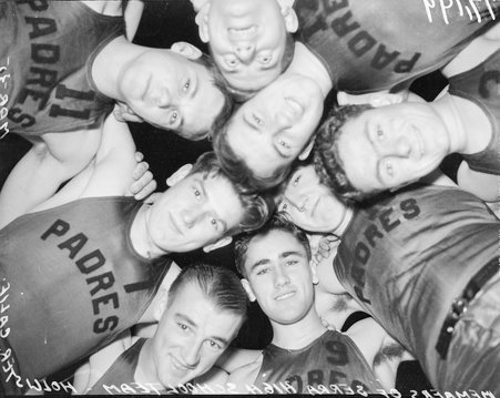 Members of Serra High School basketball team in Hollister, California, March 1935.