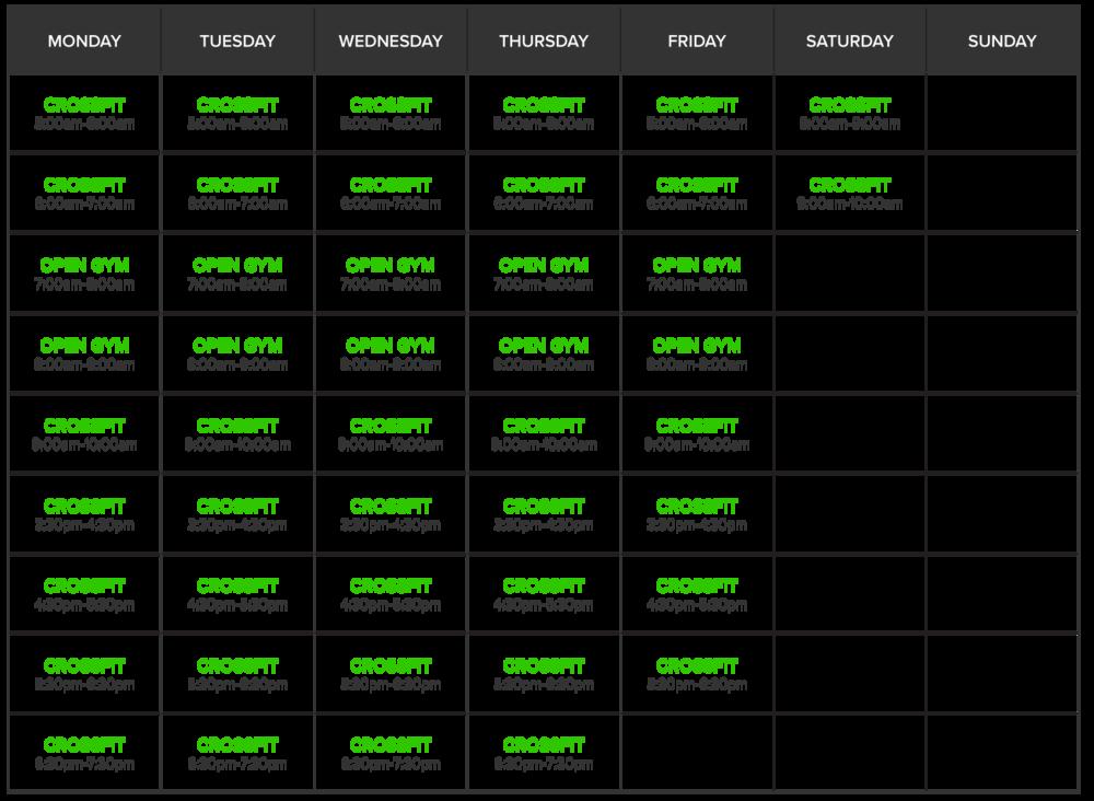 CrossFit Class Schedule El Dorado Hills