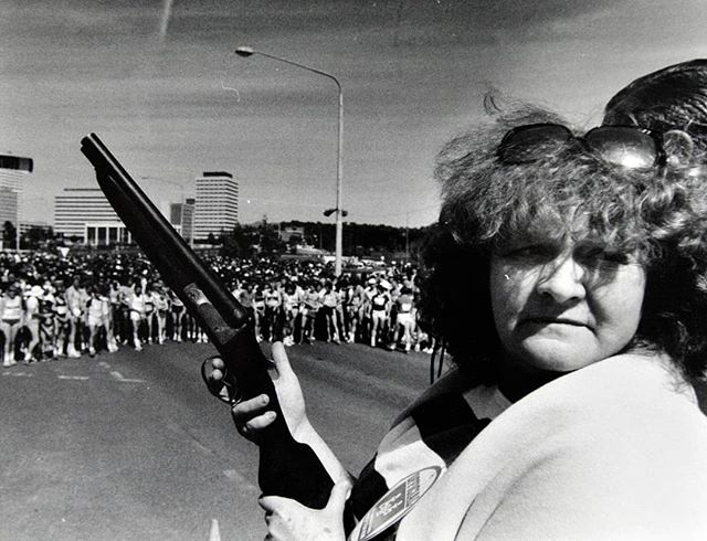 Flashback Friday to the 1984 #CanberraTimesFunRun start line with Val Lehamn, star of the TV show Prisoner. Now that's one old school start gun!