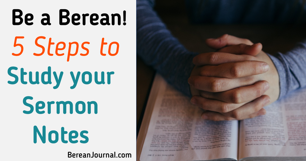 Sermon notes aren't just for Sunday. No, sermon notes should be studied. Here are 3 tips for adults, for teens, and for beginners to use in Bible Study Journals. | Join me on Pinterest @ www.pinterest.com/bereanjournal