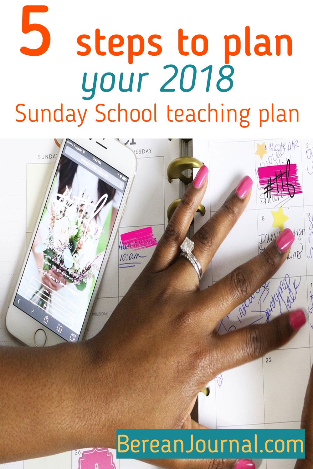 When it comes to leading a class or ministry a plan is important. A plan helps you to conquer your goals and objectives. Whether it be for Sunday School lessons, Children Church sermons/lessons, or adult Bible Studies. A plan is important and here are 5 steps to put that Sunday School planner calendar together.  | For more ministry teaching follow me on Pinterest @ www.pinterest.com/bereanjournal