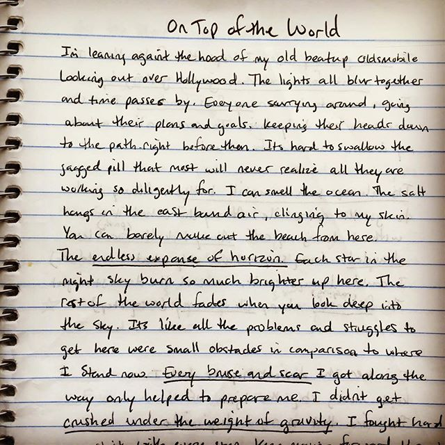 """Here's a small glimpse into the creative process of writing a song. You'd be surprised how often you guys ask us how we write songs. So here is one of the sheets of my songwriting notebook. This was for the song """"On Top Of The World"""". You can see my process almost always starts with a story.  What is your process when you're being creative? -Rick  #songwriting #song  #songwriter #lyrics #pop #rock #studio #producer #producerlife #ontopoftheworld #creative"""