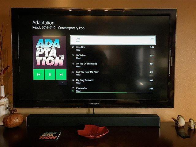 Popped the new album into the XBOX One for a test drive and this beautiful screen came up. Ahh! The smell of fresh music in the evening. Only a week to go before all our Indy friends get it in their hot hands.  #adaptation #concert #show #cdreleaseshow #music #newmusic #xbox #xboxone #cd #song #songwriter #producer #producerlife #studio #studiolife #indy #indymusic #musicscene