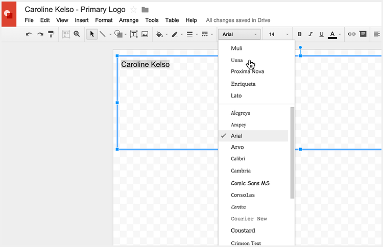 Pick your logo typeface in Google Drawings for your new logo