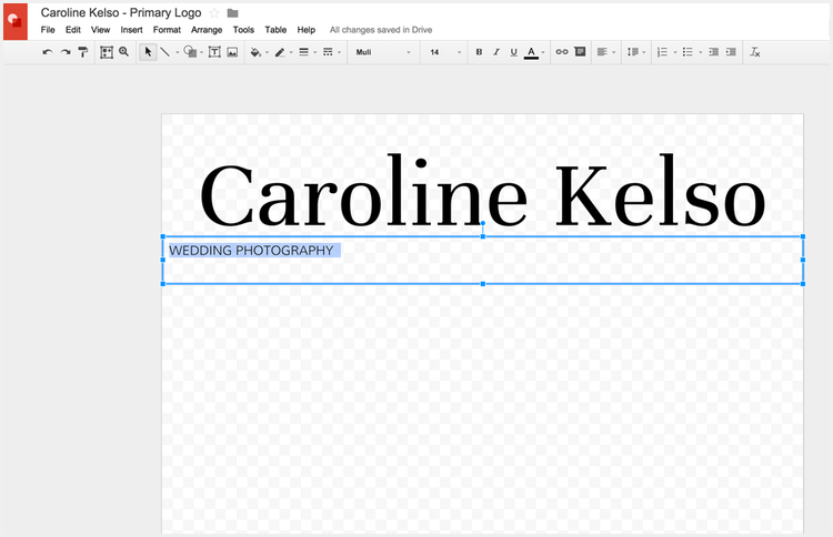 Format your text in your logo in Google Drawings
