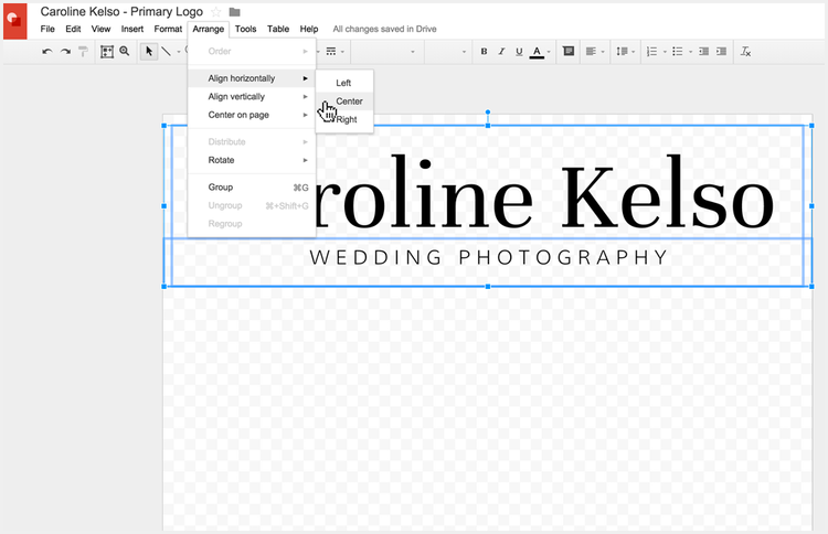 Adjusting the alignment and spacing of your logo without Photoshop