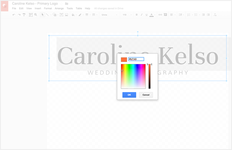 Pick colors for your logo without Photoshop, using Google Drawings