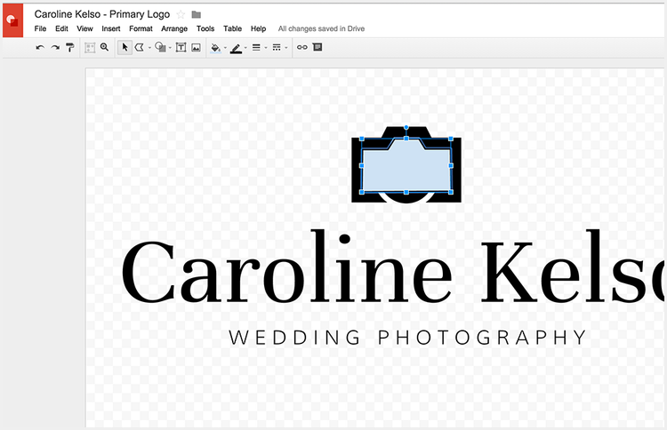 Sizing icons and graphics on a logo without Photoshop