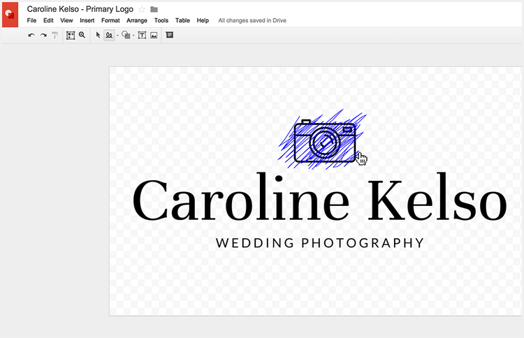 Using Google Drawings scribble effect to create a custom logo