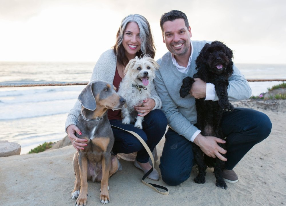Amanda Ree with her husband Rene Ringnalda and their forever pack (Graham, Benny and Maya) Photo by Jamie Fields