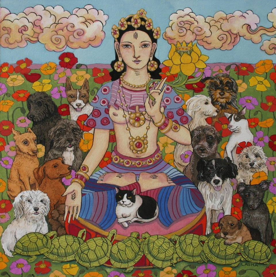 Dog Rescue White Tara. Art by  Lasha Mutual