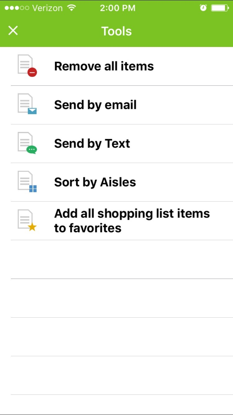 text text of worded list only sort by aisles and add all shopping list items to favorites which comes in really handy for adding items for next time