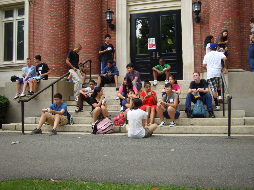 Hanging Out on the Harvard Steps