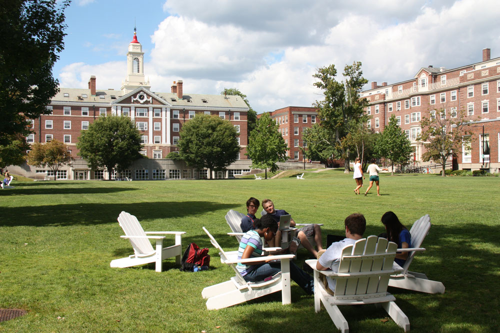 Students Take a Break on the Harvard Quad